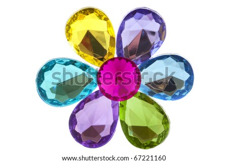 Colorful jewel flower isolated on a white background
