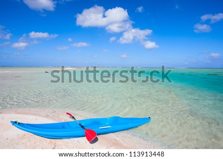 Colorful kayak in a tropical lagoon