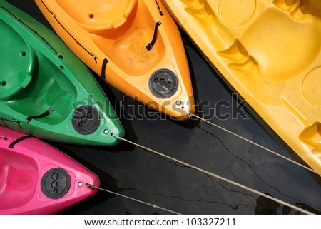 Colorful kayaks in the river, Thailand