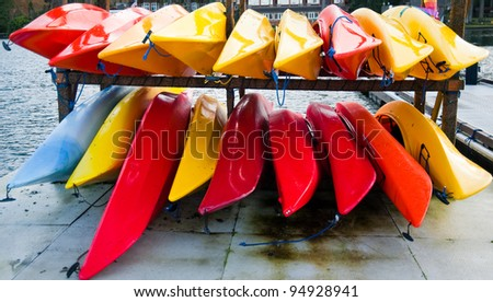 Colorful kayaks on Hood Canal pier