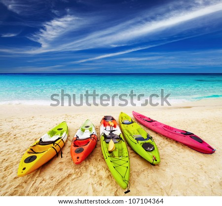 Colorful kayaks on the tropical beach Thailand