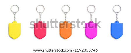 colorful key chain trinkets in a row