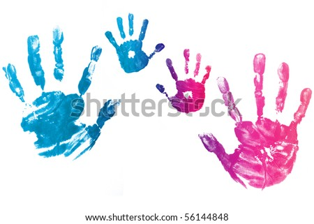 colorful kid hands isolated