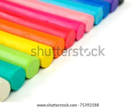 Colorful kid's plasticine  on white background, Colorful dough modeling clay
