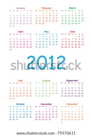 Colorful kids calendar on 2012 year - stock photo