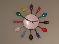Colorful kitchen cutlery wall clock
