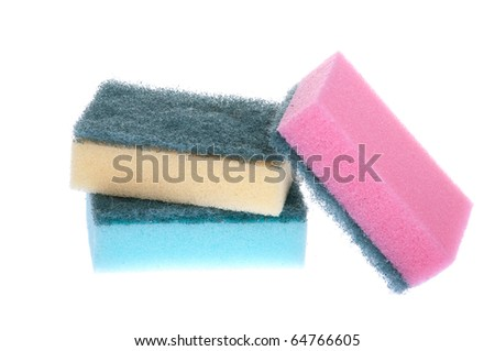 colorful kitchen sponges isolated on white background