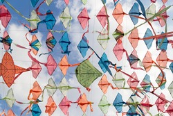 Colorful Kites in blue sky , Summer Festival in Thailand