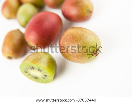 Colorful Kiwi Berries Isolated on White Background