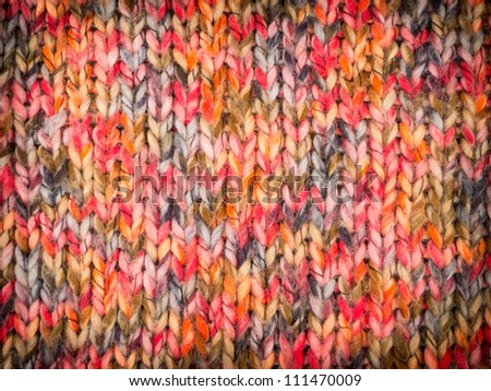 Colorful knitted pattern with vignette