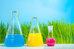 Colorful lab tubes and flasks with spring fresh bright green grass on background