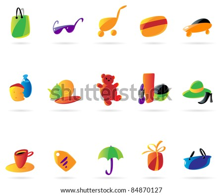Colorful ladies' shopping icons. Raster version. Vector version is also available.