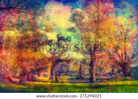 Colorful landscape painting showing forest in spring.