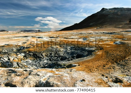 Colorful landscape view of geothermal activity, Iceland