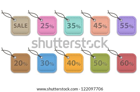 Colorful leather labels for shopping. Sale tags