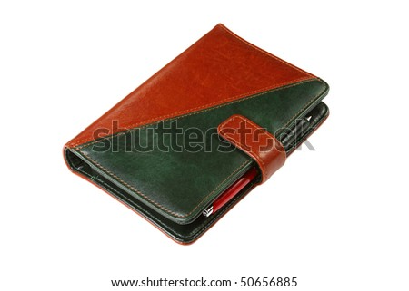 colorful leather office organizer on white with a red pen
