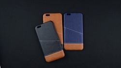 Colorful Leather Smartphone Case in Black Background for Online Store Catalogue