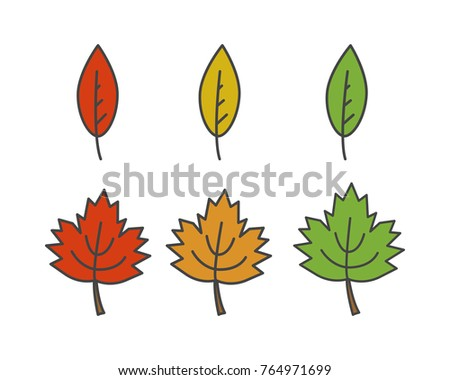 Colorful leaves of different shape flat style  icon isolated on white set. Autumn defoliation concept. Deciduous tree leaf cartoon illustration for applications, logos or web design