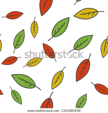 Colorful leaves seamless pattern. Different size green, red and orange falling leaves flat raster on white background. Autumn defoliation concept illustration for wrapping paper, print on fabric