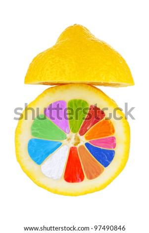 Colorful lemon fruit on the white background