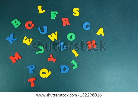 Colorful letters on school board close-up