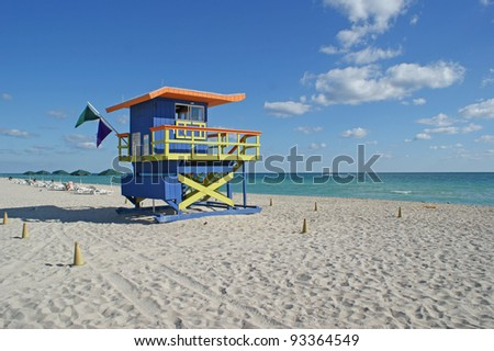 Colorful lifeguard house on South Beach from Miami