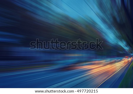 colorful light trace from night traffic in the city #497720215