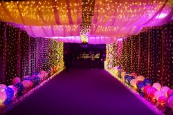 Colorful light tunnel for wedding night