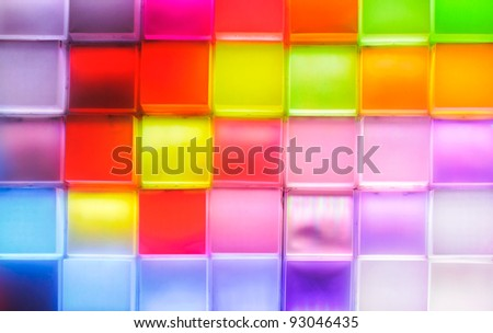 Colorful light wall of the exhibition pavilion.