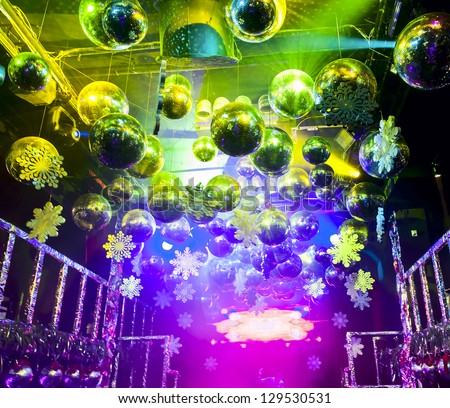 Colorful lights and disco balls decorations for Christmas at nightclub