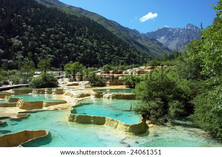 Colorful Limestone Pools in Huanglong Valley (China)
