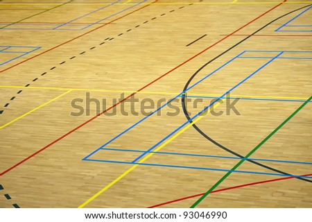 Colorful lines in a gym