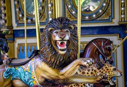 colorful lion ride on carousel