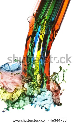 colorful liquids pouring out of a glass and splashing onto white background