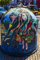 Colorful litter bin trash in Lisbon, Portugal