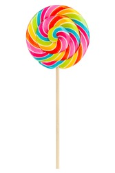 Colorful lollipop isolated on white background, full depth of field, clipping path