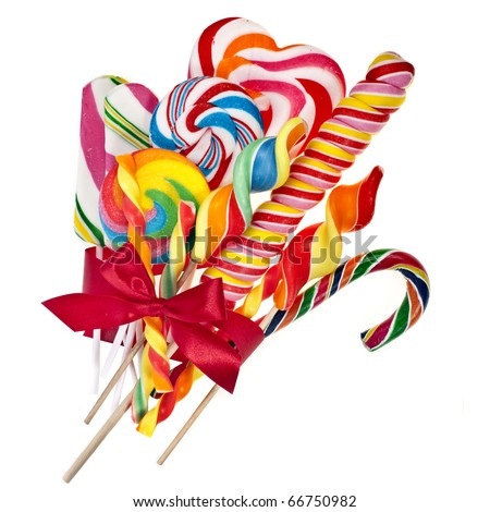 colorful lollipop with red ribbon bow isolated on white
