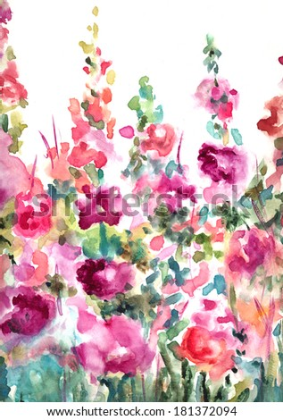Colorful Loose Abstract Watercolor Floral Landscape Background