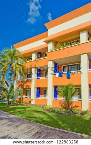 Colorful luxury caribbean resort hotel building. Bahia Principe, Riviera Maya.