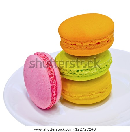 colorful macaroon  on white dish