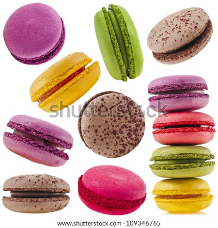 Colorful macaroons collection set of isolation on a white background