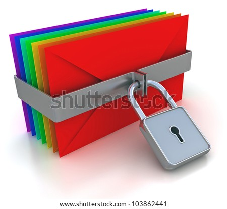 Colorful mail and lock. 3d image on a white