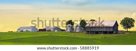 Colorful majestic farm behind green soy field