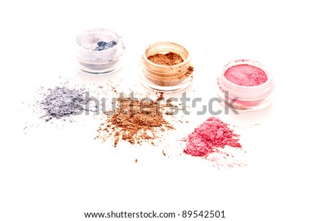 colorful makeup set on white background