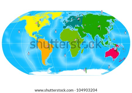 Colorful Map of the World with Continent Location banners and Ocean Markers. Isolated on White Background.
