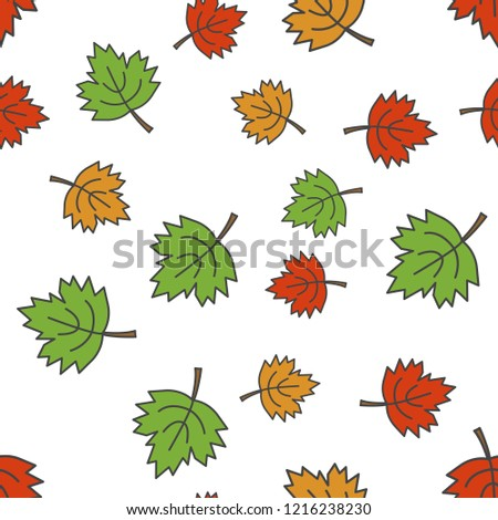 Colorful maple leaves seamless pattern. Different size green, red and orange falling leaves flat raster on white background. Autumn defoliation concept illustration for wrapping paper, print on fabric