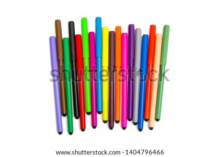 Colorful markers on a white background