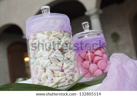 colorful marshmallow in glass jars
