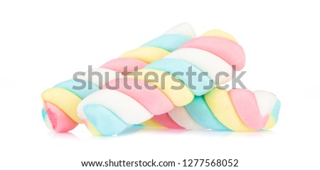 colorful marshmallows isolated on white background #1277568052