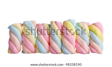 colorful marshmallows on a white background
